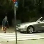 Pushy Driver Learns Never Ever To Honk At A Granny!